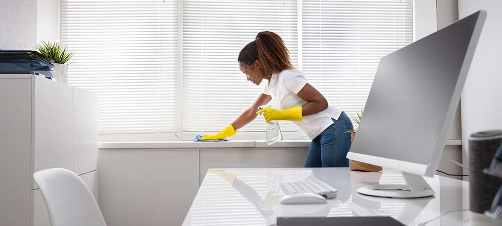 Women cleaning an office